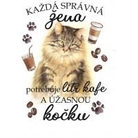 """Hrnek """"Každá správná žena potřebuje litr kafe a ÚŽASNOU KOČKU - MAINSKÁ"""""""