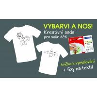 """Dětské tričko s obrázkem a kreativní sadou """"VYBARVI A NOS!"""""""