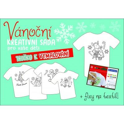 """Dětské tričko s obrázkem a kreativní VÁNOČNÍ sadou """"VYBARVI A NOS!"""""""