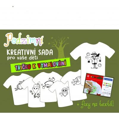 """Dětské tričko s obrázkem a kreativní podzimní sadou """"VYBARVI A NOS!"""""""