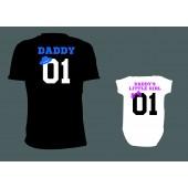 """Rodinné/pánské tričko + Body """"Daddy 01 + Daddy's Little girl 01"""""""
