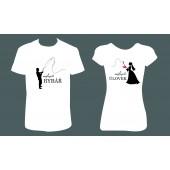 """Svatební trička pro páry """"Ženich-nejepší rybář / Nevěsta-nejlepší úlovek"""""""